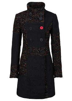 Пальто в сочетании узоров и материалов-RAINBOW