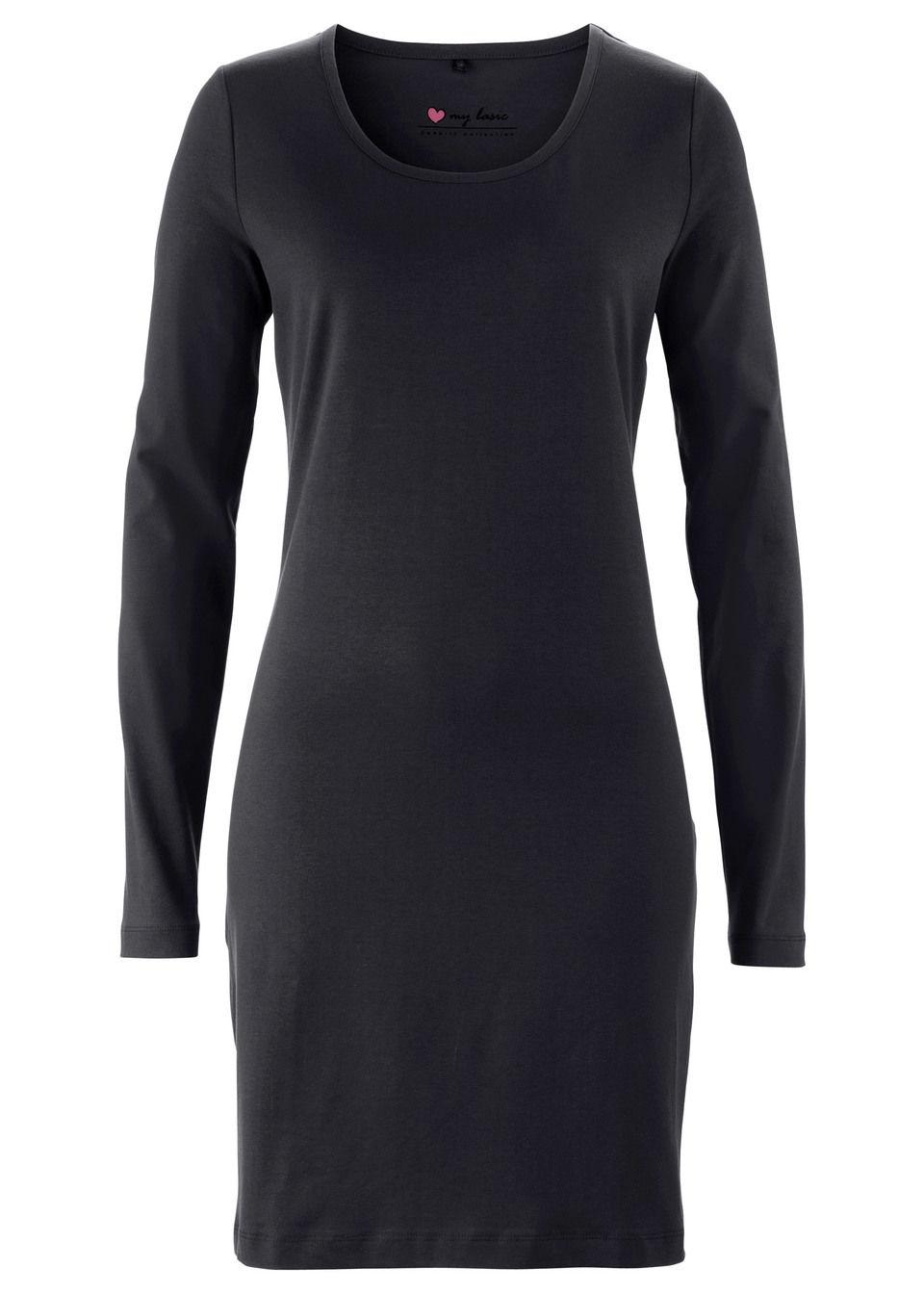 Трикотажное платье-стретч с длинным рукавом