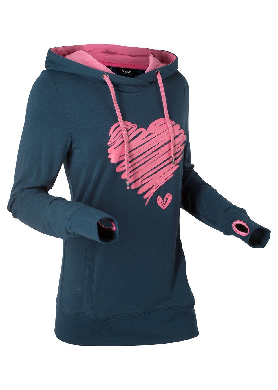 Свитшот с принтом сердца и длинным рукавом